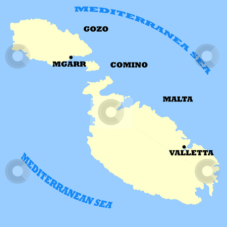 Maltese Islands map stock photo, Map of Maltese Islands isolated on a blue background. by Martin Crowdy