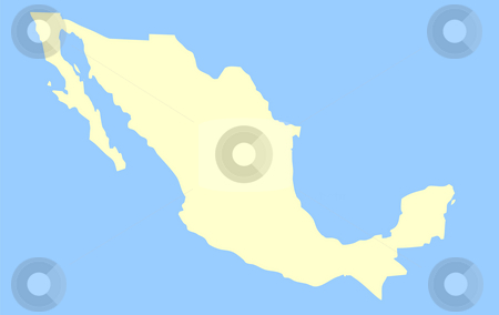 Map of Mexico stock photo, Map of Mexico isolated on a blue background. by Martin Crowdy