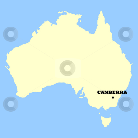 Australia map stock photo, Map of Australia isolated on a blue background. by Martin Crowdy
