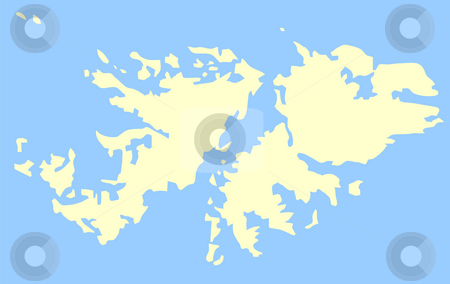 Map of Falkland Islands stock photo, Map of Falkland Islands isolated on a blue background. by Martin Crowdy
