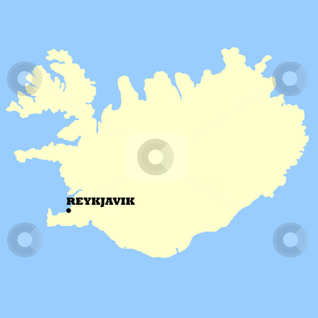 Iceland map stock photo, Map of Iceland isolated on a blue background. by Martin Crowdy