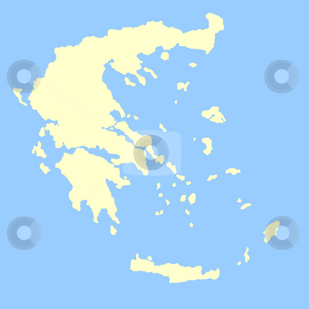 Greece map stock photo, Map of Greece isolated on a blue background. by Martin Crowdy