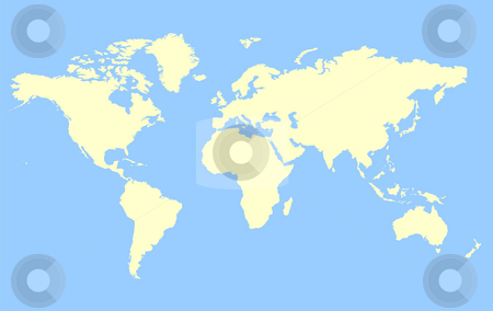 Map of World stock photo, Map of World isolated on a blue background. by Martin Crowdy