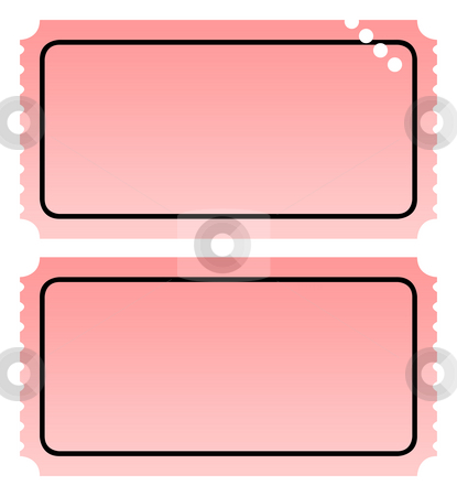Two blank tickets stock photo, Two blank ticket, one punched, isolated on white background with copy space. by Martin Crowdy