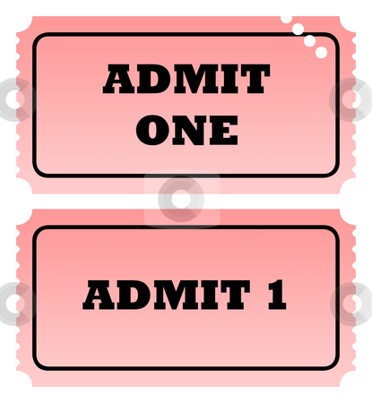 Two admit one tickets stock photo, Two admit one tickets, one punched, isolated on white background with copy space. by Martin Crowdy