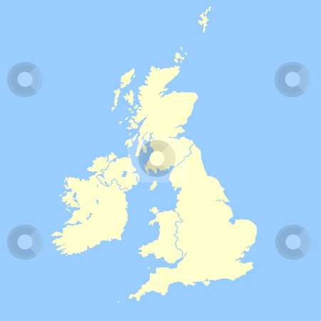 United Kingdom map stock photo, United Kingdom map isolated on a blue background. by Martin Crowdy