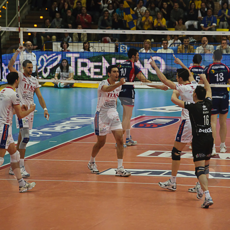 Italian male volley Championship 2009/2010 - ITAS  Diatec Trenti stock photo, Game 1 of Playoff Semifinals between ITAS Diatec Trentino Volley and Lube Banca Marche Macerata. Trento player Emanuele Birarelli exulting after a winning block. Photo taken on the 18th of April, 2010. by Alessandro Rizzolli