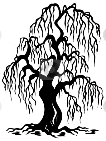 Willow tree silhouette stock vector clipart, Willow tree silhouette - vector illustration. by Klara Viskova