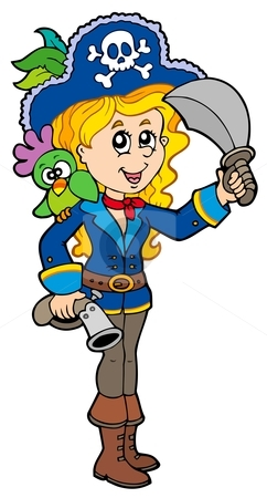 Pretty pirate girl with parrot stock vector clipart, Pretty pirate girl with parrot - vector illustration. by Klara Viskova
