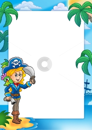 Frame with pretty pirate girl stock photo, Frame with pretty pirate girl - color illustration. by Klara Viskova