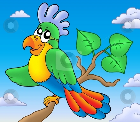 Cartoon parrot on branch stock photo, Cartoon parrot on branch - color illustration. by Klara Viskova