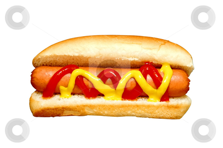 Hot Dog stock photo, Hot dog with ketchup and mustard.  Clipping path. by Danny Hooks