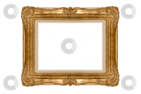 Golden frame stock photo, Antique vintage square gilded frame on a white background by Anneke