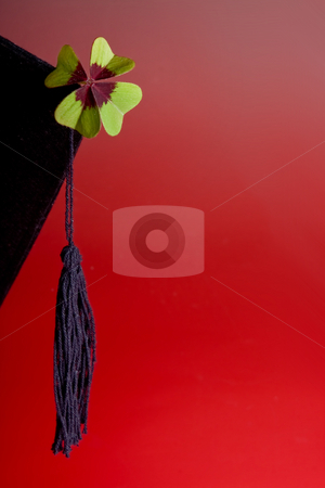 Good luck for the future stock photo, Good luck cloverleaf on a graduation hat by Anneke
