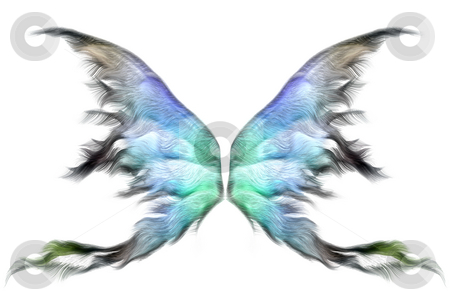 Pastel wings stock photo, Pastel colored fairy wings isolated on white by Anneke