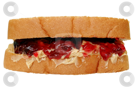 Peanut Butter and Jelly Sandwich stock photo, Peanut butter and jelly sandwich with clipping path. by Danny Hooks