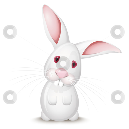 Little rabbit stock vector clipart, Little white rabbit isolated on white background by Laurent Renault