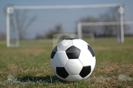 Soccer stock photo, Soccer ball on field with goal in background. by Danny Hooks