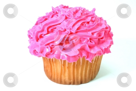 Cupcake stock photo, Cupcake with pink decorative frosting.  Isolated on white background. by Danny Hooks