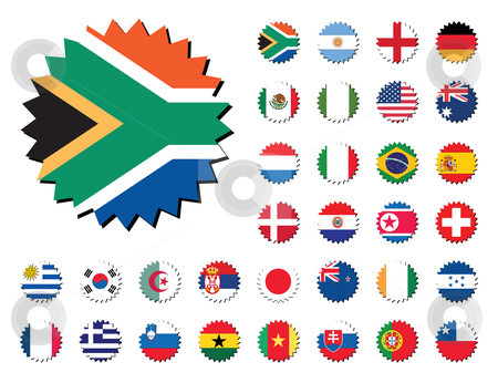 Countries flags badges stickers stock vector clipart, Countries badges in sticker form, 32 countries. by Mtkang