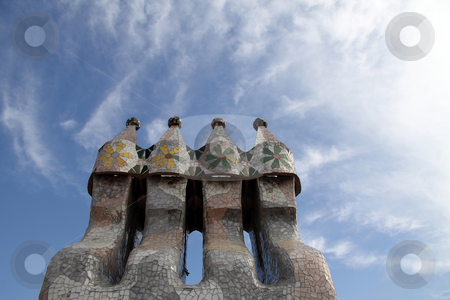 Smoke Stacks stock photo, Chimney smoke stacks clustered together with tiles coving them by Kevin Tietz