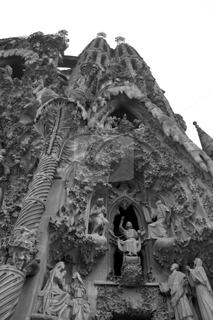 Sagrada Familia stock photo, Black and White shot of the large Sagrada Fam?lia in Barcelona, Spain by Kevin Tietz