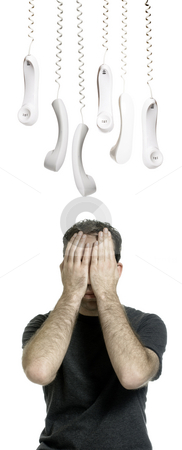I Hate Phones stock photo, A young man who hates phone calls is hiding from all the telephone receivers, isolated against a white background. by Richard Nelson