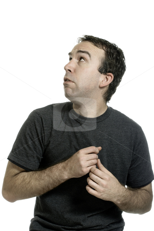 Nervous stock photo, A young man is nervous about something, isolated on white for you to place your on image or text by Richard Nelson