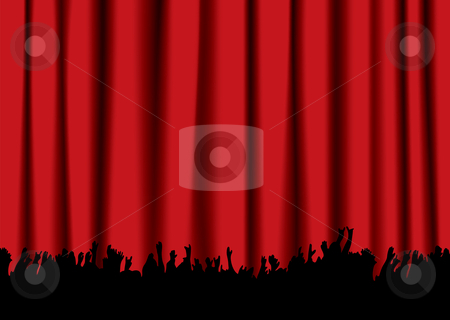 Concert crowd red curtain stock vector clipart, Red velvet concert stage curtain and silhouette of crowd hands by Michael Travers
