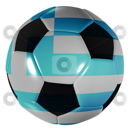 Football greece stock photo, Traditional black and white soccer ball or football with greece flag by Michael Travers