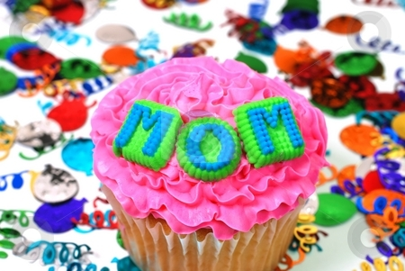 Celebration Cupcake - Mom stock photo, Celebration cupcake with