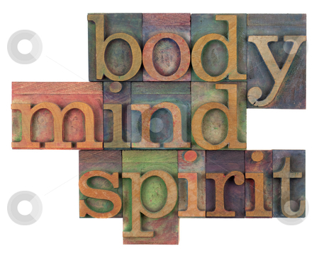 Body, mind and spirit concept stock photo, Body, mind and spirit in vintage wooden letterpress types, stained by ink in different colors, isolated on white by Marek Uliasz