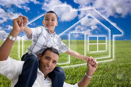 Father and Son Over Grass Field, Clouds, Sky and House Icon stock photo, Happy Hispanic Father and Son Over Grass Field, Clouds, Sky and House Icon. by Andy Dean
