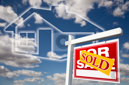 Sold For Sale Sign Over Clouds, Sky and House Icon. stock photo, Sold For Sale Real Estate Sign Over Clouds, Sky and House Icon. by Andy Dean