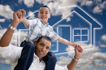 Father and Son Over Clouds, Sky and House Icon stock photo, Happy Hispanic Father and Son Over Clouds, Sky and House Icon. by Andy Dean