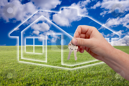 Handing Over Keys on Ghosted Home Icon, Grass Field and Sky stock photo, Male Handing Over Keys on Ghosted Home Icon, Grass Field, Clouds and Sky. by Andy Dean