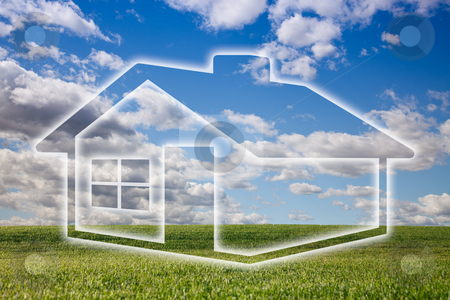 Dreamy House Icon Over Grass Field and Sky