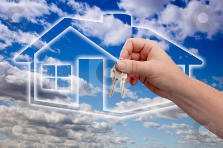 Handing Over Keys on Ghosted Home Icon, Clouds and Sky stock photo, Man Handing Over the House Keys on Ghosted Home Icon, Clouds and Sky. by Andy Dean
