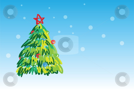 Christmas tree - 6 of 6 christmas cards stock vector clipart, Christmas tree on snowing background, christmas greetings. 1 of the 6 same styled christmas cards i draw, please check the rest in my profile. by Mtkang