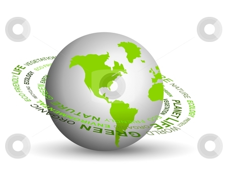 Green globe stock photo, Illustration of Go green concept with globe by Sreedhar Yedlapati