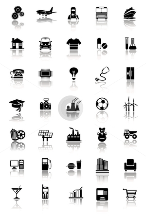 Industrial icons stock photo, An illustration of an Industrial icon set by Sreedhar Yedlapati
