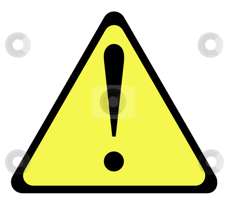 Yellow warning triangle sign stock photo, Yellow warning triangle sign with exclamation mark, isolated on whte background. by Martin Crowdy