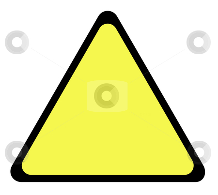 Yellow warning triangle sign stock photo, Yellow warning triangle sign with copy space isolated on whte background. by Martin Crowdy