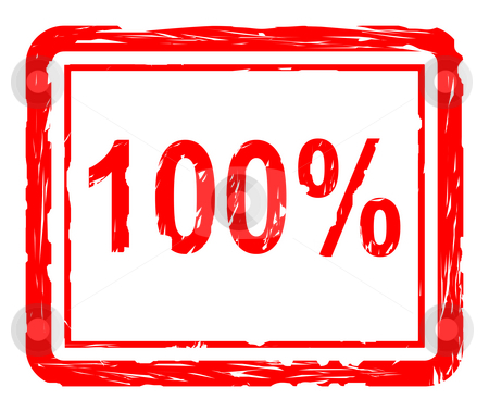 100% Quality stamp stock photo, Used 100% quality red stamp isolated on white background, by Martin Crowdy