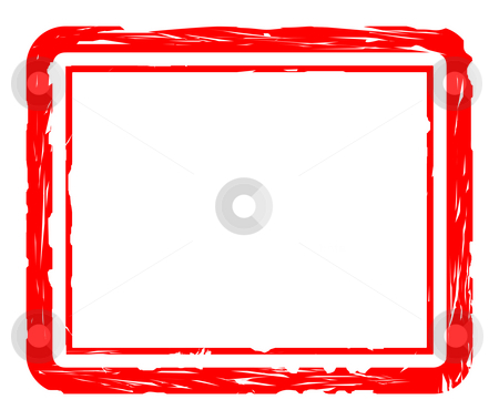Used red stamp stock photo, Blank used red stamp isolated on white background, with copy space. by Martin Crowdy