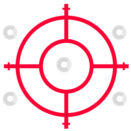 Gun sight stock photo, Gun sight isolated on white background with copy space. by Martin Crowdy