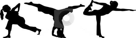 Silhouette yoga stock vector clipart, Silhouette athletic by Desislava Draganova