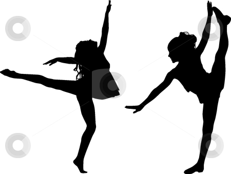 Silhouette sport dance stock vector clipart, Silhouette children by Desislava Draganova
