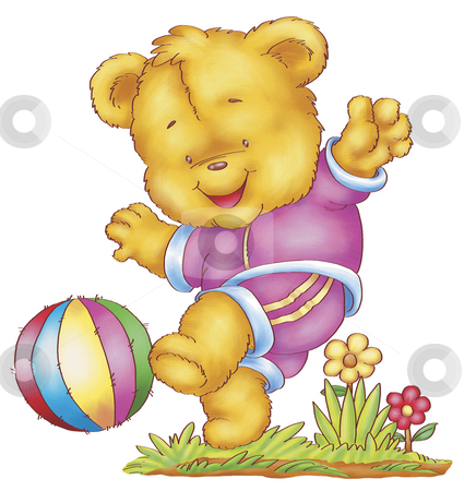 Play time stock photo, A digitally illustrated cute and active bear by Rey Gabudao