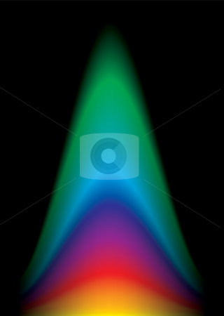 Rainbow flame glow stock vector clipart, Brightly colored abstract rainbow flame black background by Michael Travers